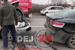 ACCIDENT în lanț pe DN1C, Dej – Baia Mare, cu CINCI autovehicule implicate