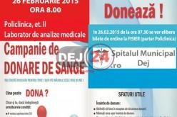 Campanie de donare de sânge, joi, la Dej