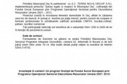 """Primăria Dej implementează proiectul """"Şanse egale si respect în Municipiul Dej"""""""