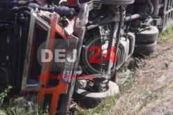 Accident GRAV la ieșire din Răscruci spre Jucu. Un TIR s-a răsturnat – FOTO/VIDEO