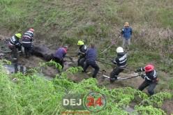 Cal salvat de pompierii din Dej. Rămăsese blocat în nămol – FOTO/VIDEO