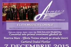 """Corala """"Armonia"""" revine la Dej, într-un concert de colinde"""