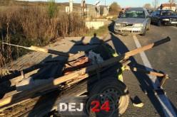 Accident rutier între Mănășturel și Ciceu Mihăiești. O căruță a fost făcută bucăți – FOTO/VIDEO