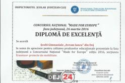 """Diplomă de excelență pentru Școala Gimnazială """"Avram Iancu"""" Dej – FOTO"""