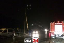 INCENDIU în Dej. Mai multe cabluri de electricitate au luat foc – FOTO