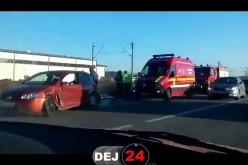 ACCIDENT RUTIER la Jucu. O mașină a ajuns în șanț – FOTO