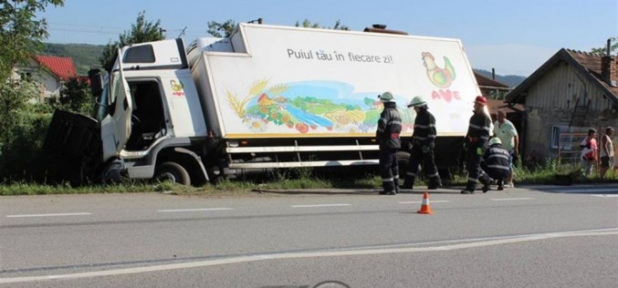 ACCIDENT la Livada. Un camion a ajuns în șanț, după explozia unui pneu – FOTO