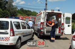 ACCIDENT RUTIER cu trei răniți, pe strada Bistriței din Dej – FOTO/VIDEO