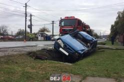 ACCIDENT în Dej! Impact puternic între două autovehicule – FOTO/VIDEO