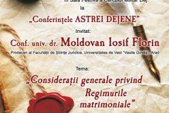 """O nouă ediție a """"Conferințelor ASTREI Dejene"""", la Dej! Invitat, conf. univ. dr. Florin Iosif Moldovan"""