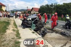 Grav accident de circulație la ieșire din Dej. Un ucrainean a DECEDAT, șoferița este GRAV rănită – FOTO/VIDEO