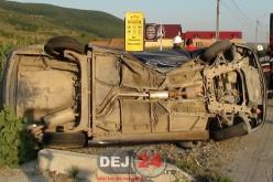 ACCIDENT – Autoturism RĂSTURNAT pe DN1C, în Cășeiu – FOTO/VIDEO