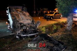 Accident SPECTACULOS la Gherla. O mașină S-A RĂSTURNAT – FOTO/VIDEO