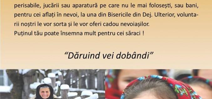 """Campania """"Fii bun de Crăciun!"""", în incinta bisericilor ortodoxe din Dej"""