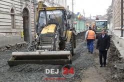 Strada Mihai Eminescu din Dej, în plin proces de modernizare – FOTO