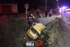 Mașină răsturnată într-un șanț de doi metri, la Coplean – FOTO/VIDEO