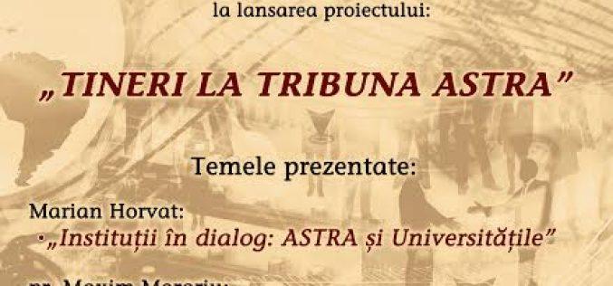 """ASTRA Dej lansează proiectul """"Tineri la Tribuna ASTRA"""", printr-o conferință susținută de doi doctoranzi ai UBB Cluj"""