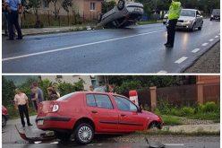 ACCIDENT – Mașină RĂSTURNATĂ în afara șoselei, lângă Dej – FOTO