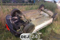 TAXI implicat în accident, pe strada Bistriței din Dej – FOTO
