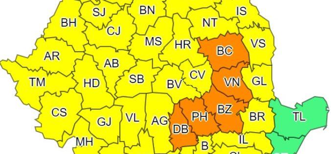 COD GALBEN de vreme rea pentru județul Cluj, începând de astăzi!